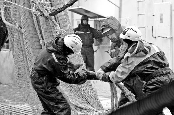 Attaching the Trawl, Antarctic Krill Trawler South Shetlands 2010